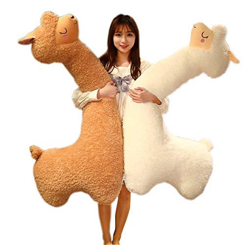 Peluche Gigante di Alpaca Che Abbraccia Cuscino Giocattolo, Soffice Cuscino per Dormire Animale Farcito Bambola più Carino Coccole Collo Lungo Alpaca