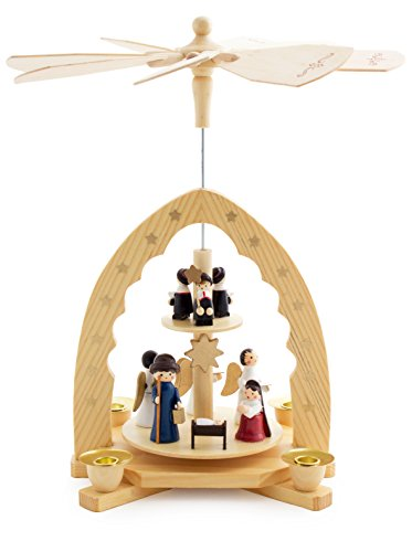 BRUBAKER Christmas Pyramid 12 Inches Nativity Play - Christmas Scene 'Jesus Crib' - Handpainted Figures - Limited Edition - Designed in Germany