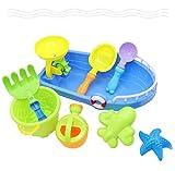 Caja de arena para juguetes de 9 piezas, juego de arena, juguetes acuáticos, juguetes de playa, juguetes de arena para niños pequeños y niñas, para niños a partir de 3 años