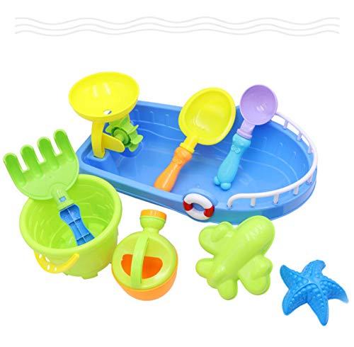AUTOECHO 9PCS Beach Toys, Set Innovador Beach Boat Bucket Play Juguete acuático con Cubo, Ducha, grada de Arena, Reloj de Arena, Pala de Arena, Cuchara, avión, Estrella de mar