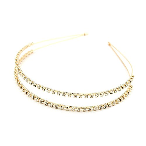 BIGBOBA D'or Cristal Bandeau Côté étroit Double Rangée Strass Bandeaux Serre-tête Accessoires Cheveux Pour Femmes Filles (D'or)