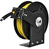 Goplus Air Hose Reel, Steel Compressor Hose Auto Rewind with Retractable 3/8' x 50' Rubber Hose Wall Mount, Commercial Grade Rubber Hose, Max.300 PSI, Yellow