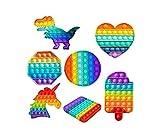 FOUTP 7Pcs Pop it Fidget Toys Pack poppit figette Set Anti Stress Multicolore Popite Bubble Sensory Fidget Toys Arc-en-ciel Soulager Le Stress et l'anxiété pour enfant et adulte