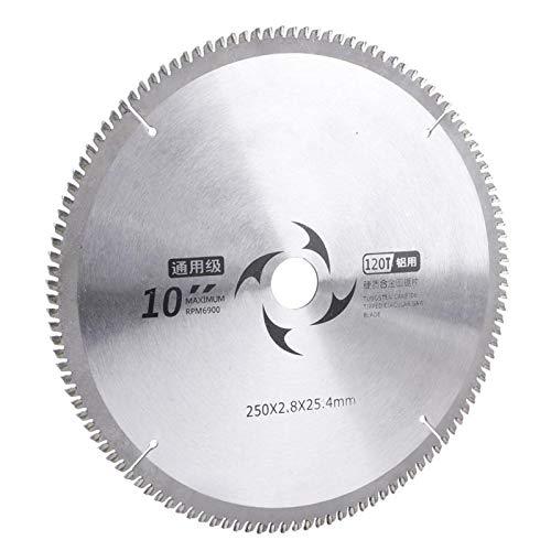 Discos para cortador de madera Discos de corte circulares Hoja de sierra circular Hoja de corte de sierra 250 x 2,4 x 25,4 mm 9,8 x 0,09 x 1 pulg.(120T)