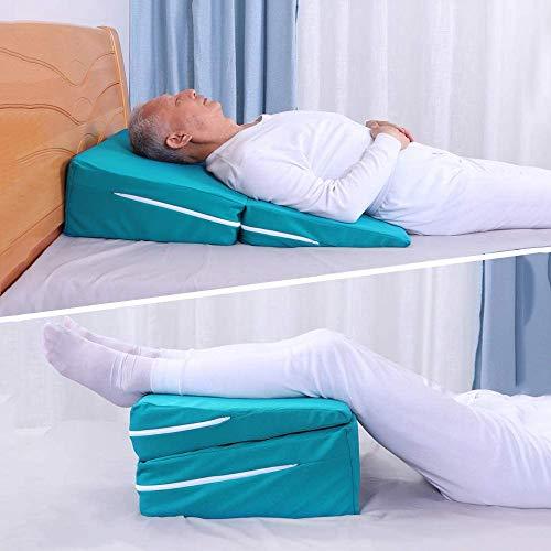 Bed wigkussen voor slapen, lezen, rusten of hoogte - Gel wigkussen voor het verminderen van nek- en rugpijn, zure reflux en ademhalingsproblemen