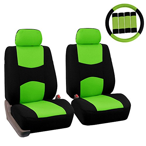 FH Group FB050102 Flat Cloth Seat Covers (Green) Front Set with Gift – Universal Fit for Cars Trucks & SUVs