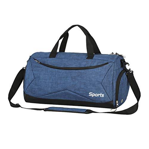TENDYCOCO Bolsa de Gimnasio para Entrenamiento físico Yoga Bolsa Deportiva Bolsa de Hombro Bolsa de Viaje al Aire Libre Impermeable con Bolsa húmeda y Compartimiento para Zapatos (Azul)