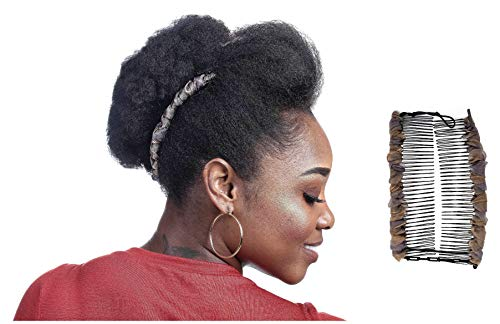 Banana Clip Adjustable for Thick Curly Hair, Elastic Adjustable Combs Make Great Hair Accessories for Kinky, Curly Ponytail, Frohawk Black Hair Protective Style Updos (Large, Champagne)