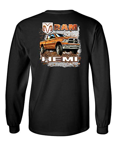 Dodge Ram Hemi Truck Mudding Unisex Adult Long Sleeve T-shirt-Black-4xl