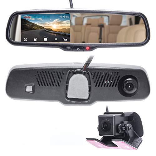 """Master Tailgaters 4"""" LCD Rear View Mirror with 1080p 30fps HD DVR Dual Way Video Recorder with WiFi + AHD Backup Camera Included"""