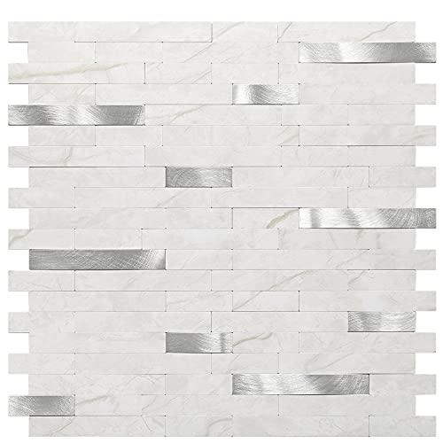 "Uoisaiko Peel and Stick Tile Backsplash, 3D Marble Textured Wall Panels, Stick on Tiles Kitchen Backsplash PVC Wall Tile, 11.7"" x 11.8"" 10 Sheet"