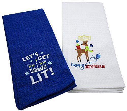 Winter Holiday Hanukkah/Christmas Kitchen Towels (Lets Get Lit/Happy Christmukkah)