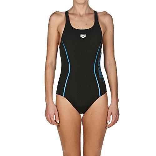 arena Damen Sport Badeanzug Resistor (Schnelltrocknend, UV-Schutz UPF 50+, Chlorresistent, Ergonomisch), Black-Turquoise (508), 42