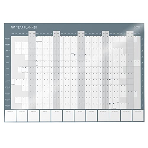 2022 Wall Planner by Clear Mind Concepts – Year Calendar A2 Laminated Rolled for Home, Work, Student, Office – Space for Monthly Planning – with 3 Printable Organisation Planners
