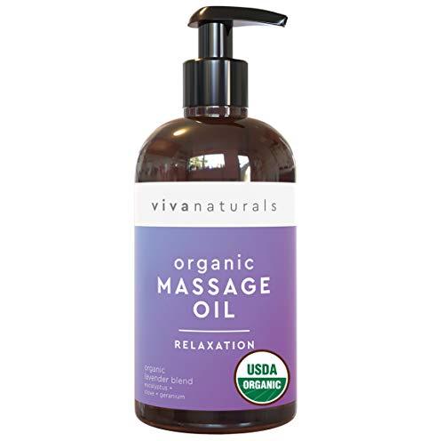 Certified Organic Massage Oil with Lavender Scent (8 fl. oz.) - Lavender Body Oil, Non-Greasy & Smells Great