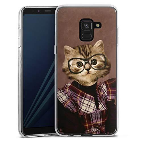 Silikon Hülle kompatibel mit Samsung Galaxy A8 Duos 2018 Hülle transparent Handyhülle Graphic Design Katze