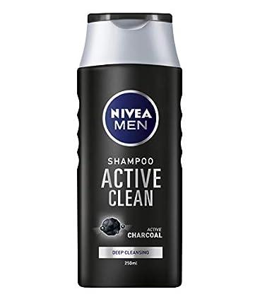 NIVEA Men - Active Clean - Champú de carbón activado para cabello normal a graso, champú de limpieza profunda para hombres, con fragancia masculina fresca, 250 ml