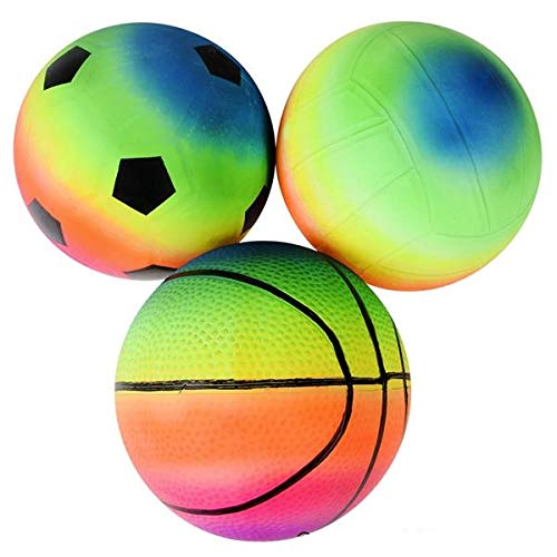 Rhode Island Novelty 6 Inch Rainbow Sports Vinyl Balls Set of 3 Assorted Designs May Vary
