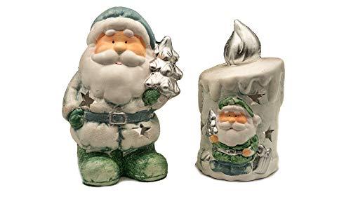 Knox keramische set - waxinelichthouder - van figuur en kaars - verschillende looks - kerstman