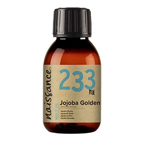Naissance Aceite Vegetal de Jojoba Dorada n. º 233-100ml - Puro, natural, prensado en frío, vegano, sin hexano y no OGM - Humecta y equilibra la piel, hidrata el cabello y todo el cuerpo.