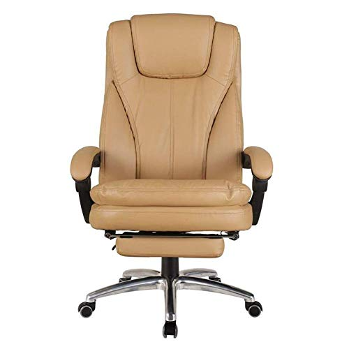 FTFTO Office Life Executive Recline Office Chairs Furniture, Extra Padded High Back Reclining Leather Relaxing Ergonomic Swivel Executive with Footrest Lounge Chair Office Chair