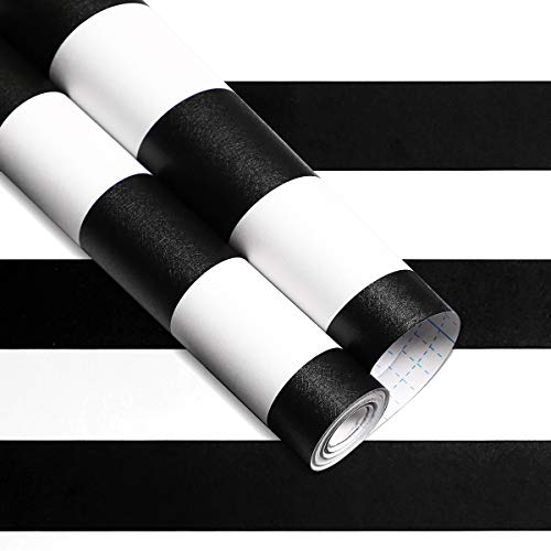32.8 ft x 17.7 inches White Black Stripe Peel and Stick Wallpaper for bedroom, Waterproof Self -Adhesive Removable Wallpaper, Easy to Clean, Decorative Wall Covering for Home Decoration and Renovation