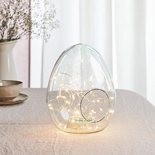 Lights4fun Osterei Glasglocke aus recyceltem Glas Osterdeko Osternest inkl. 50er Micro Lichterkette