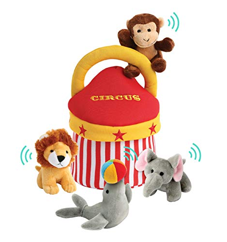 Etna Plush Talking Animals Circus Play Set – 5 Piece Small Stuffed Animals Plus Handy Carry Case with Handle – Includes a Plush Monkey Toy and Lion – Interactive Toys for Fun and Imaginative Play