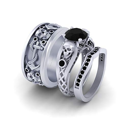 Anillo de compromiso de 2,55 TCW con diseño de calavera de malla de diamante negro de plata de ley 925 maciza