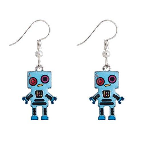 Joe Cool - Pendientes con diseño de robot fabricados con esmalte y aleación de estaño