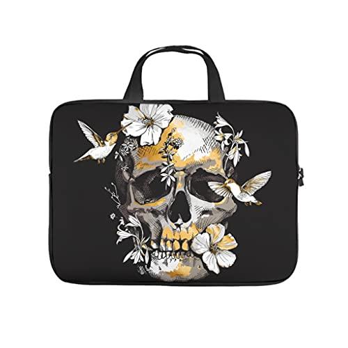 Funda para portátil con diseño de cráneo tropical de hibisco con impresión 3D, de neopreno, resistente a los arañazos, blanco, 17 pulgadas,