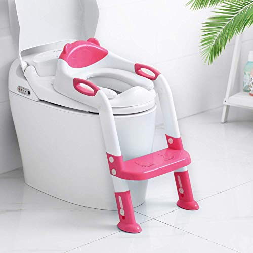 Potty Training Seat with Ladder, Adjustable Toddler Toilet Training Potty Seat with Step Stool for Kids Girls and Boys, Comfortable Cushion Safe Handle Anti-Slip Pads