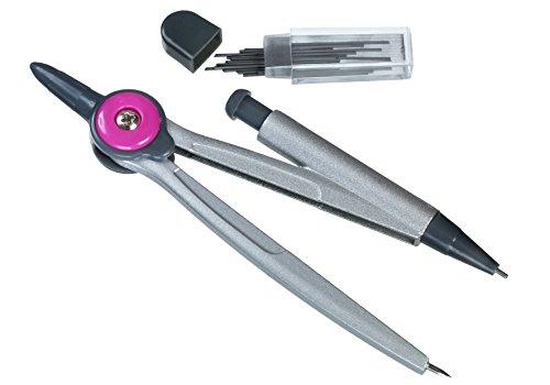 Linex, kompas passer, inclusief extra vullingen in vaste doos om te leren en te tekenen. 5 mm Mine roze