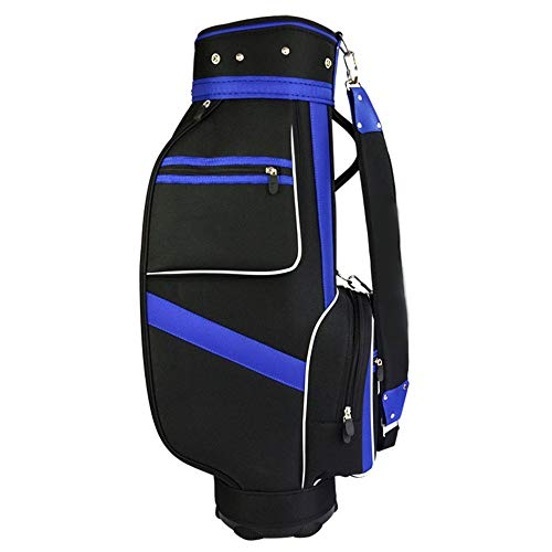 LJPzhpGolf wasserdichte Golf Cart Tasche Nylon Golf Bag Standard Bag Golf Standbag wasserdichte Golf Carry Bag Schwarze und Blaue Balltasche mit 5 Kolbenbohrungen Golf Trolley Bag