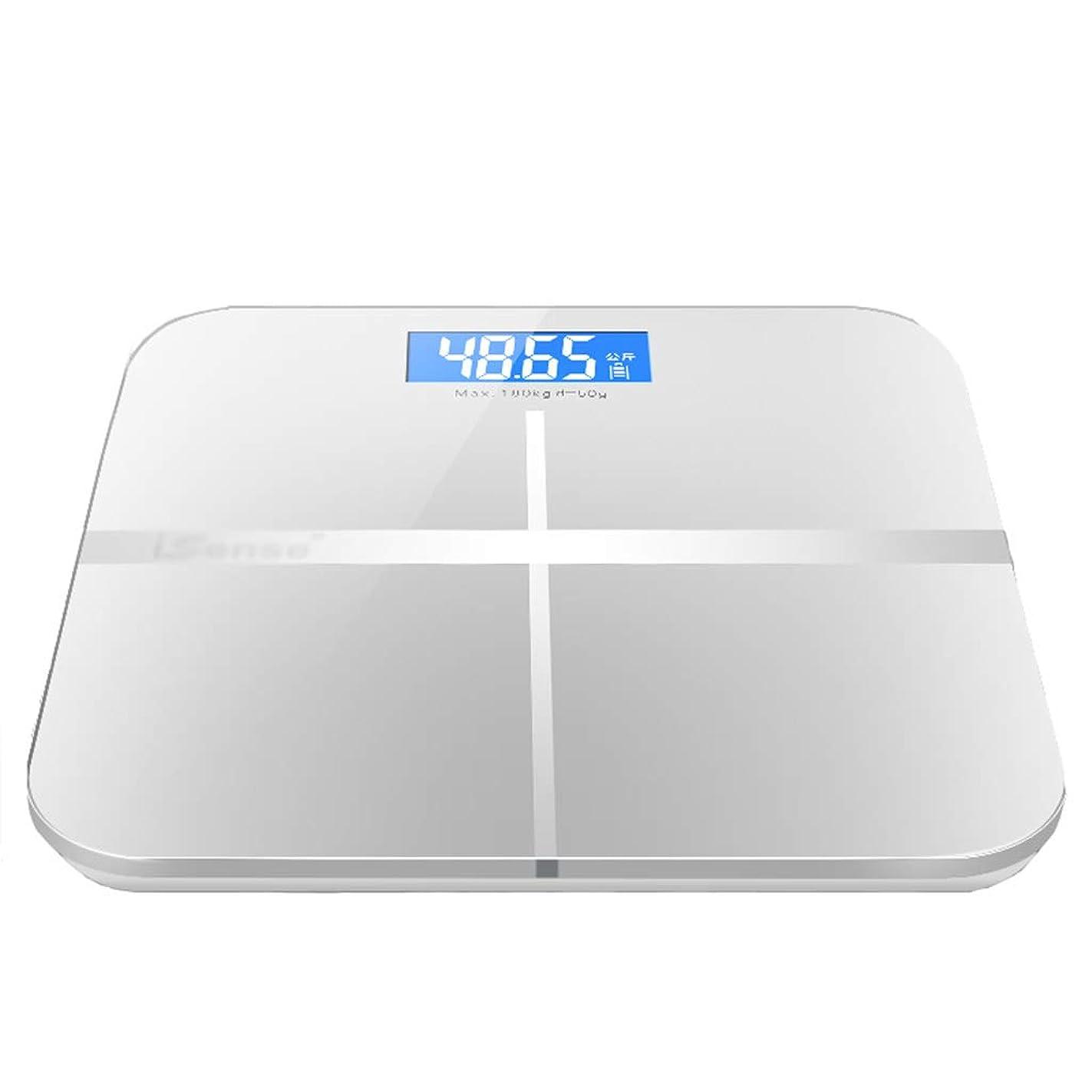 微妙カラスシロクマ体重計 精密浴室の電子スケールホームブルーバックライト付きLCDモニターUSB充電重量損失重量計ディスプレイの電力30×30センチメートル (色 : 白)