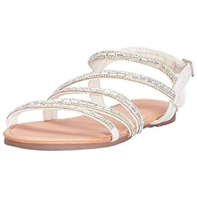 David's Bridal Strappy Crystal-Encrusted Flat Sandals Style Ashton, White, 8