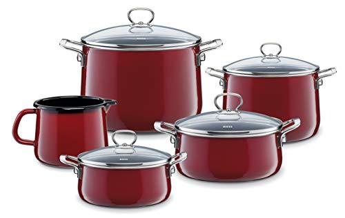 Riess 0584-008 - Set di pentole smaltate Rosso, 5 pezzi, 4 pentole e 1 pentola a becco