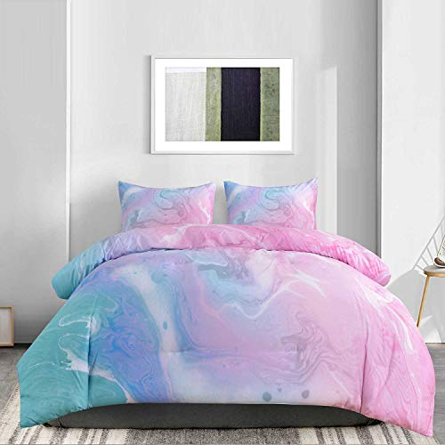 NANKO Comforter Set Queen Size, Colorful Marble Pink Blue Teal Galaxy Art Print 88 x 90 inch 3pc Reversible Comforter Microfiber Duvet Sets Best Modern Bedding for Women Men