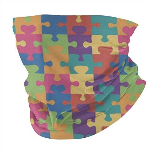 Autismo Conciencia Puzzle Verano BandaFace Cover - Pasamontañas Bufanda Polvo Sol Protección UV Pesca Cuello Polaina - Para Hombres Y Mujeres Negro