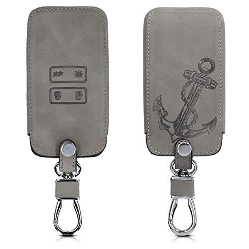 kwmobile Autoschlüssel Hülle kompatibel mit Renault 4-Tasten Smartkey Autoschlüssel (nur Keyless Go) - Kunstleder Schutzhülle Schlüsselhülle Cover Anker Vintage Grau