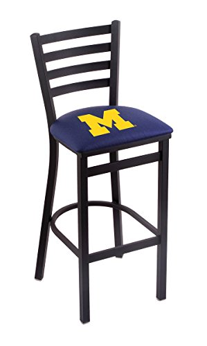 Holland Bar Stool Co. L004-25' Black Wrinkle Michigan Stationary Counter Stool with Ladder Style Back by The