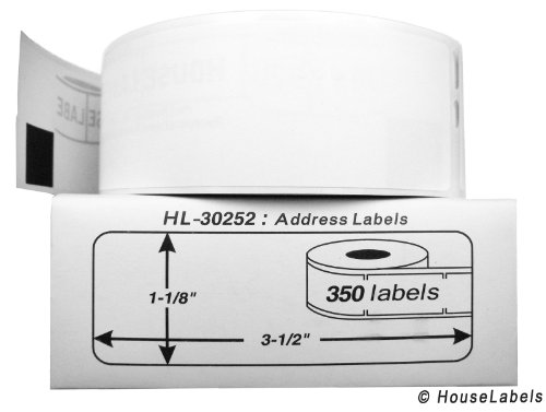 """42 Rolls; 350 Labels per Roll of DYMO-Compatible 30252 Address Labels (1-1/8"""" x 3-1/2"""") -- BPA Free!"""