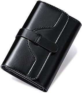 GUMAOPAJIAAAqb Monederos de Mujer, High Quality Women's Genuine Leather Wallet Female Short Anti Theft Card Holder Coin Pu...