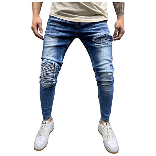 TANGTANGYI Homme Grande Taille ÉLastique Jeans Taille Haute Loisir Straight Pantalon Slim en Denim Stretch en DéChiré Et(Blue,M)