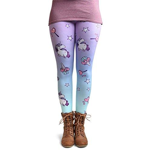 cosey - Leggings Coloridos Impresos (Talla única) - Dulces Unicornio
