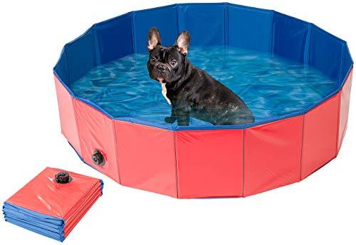 Sweetypet Hundebecken: Faltbarer XL-Hundepool mit rutschfestem Boden, Ablassventil, 120x30 cm (Hundebad)