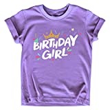 Birthday Girl Shirt Crown 1st First 2nd Two 3rd 4th 5th Toddler Birthday Outfit (Purple, 7 Years)