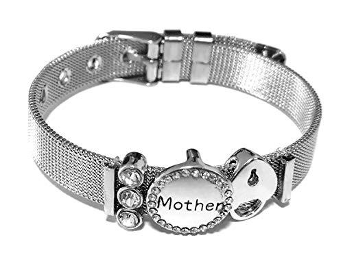 Día de la madre regalo, Deesospro®'Mother' Carta de amor pulsera de Acero inoxidable de diamantes Los mejores regalos para el Día de la Madre y el cumpleaños (Plata)