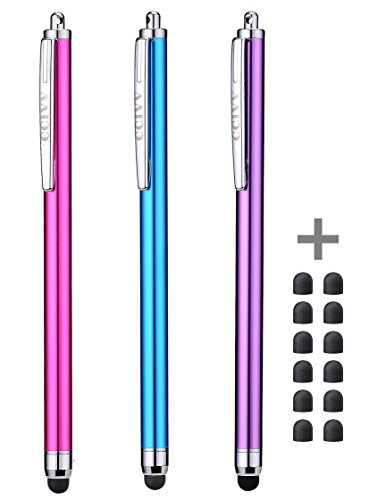 Stylus Pens for Touch Screens iPad iPhone Kindle Fire (Pink/Purple/Aqua Blue)