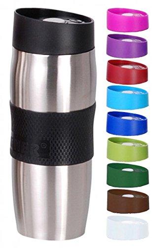 Thermobecher - Trinkbecher - Edelstahl/Kunststoff - 380 ml - Isolierbecher - Kaffeebecher - Coffee to go Becher - Farbe wählbar, Farbe:Schwarz